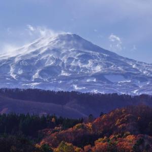 鳥海山のある風景と晩秋の風景(直根付近)