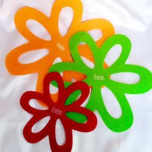 (ノД`;川  お引越し で 、Felt Flower Pan & Dish Protectors が 使えたよねん☆☆  +.((人д`o川