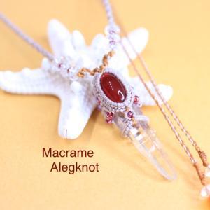 ヒマラヤ水晶のポイントとカーネリアンのマクラメネックレス