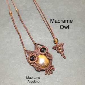 フクロウのマクラメネックレス