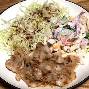 6月23日 夕食 ☆豚トロねぎ塩炒め ☆マカロニサラダ ☆千切りキャベツ
