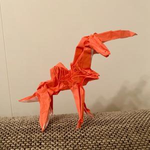 息子デザインの折り紙と記録