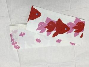 洗える金魚柄の半巾帯がかわいい