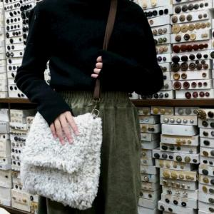 エコファー1玉でバッグを編みました。♯メリヤス編み♯棒針編み♯かぎ針あみ♯バッグ♯エコファー♯編み物教室♯弁天通り♯前橋♯弁天手芸店♯バッグ