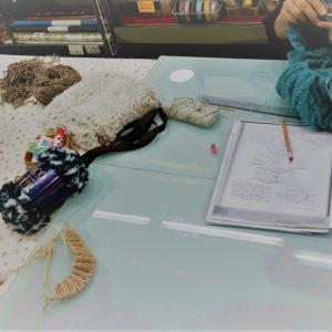 先日の編み物教室の様子です。♯編み物教室♯弁天通り♯弁天手芸店♯前橋♯かぎ針♯棒針♯スターメツィード♯リッチモア♯ヘアバンド