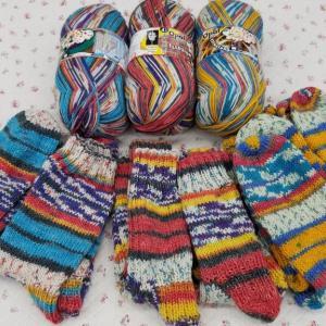 OPAL糸、3玉で靴下6足編めました。♯編み物♯手編み靴下♯OPAL♯毛糸♯棒針♯かぎ針♯編み物教室♯弁天手芸店♯弁天通り♯前橋