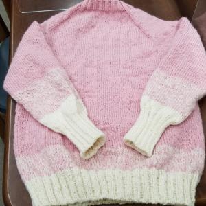 働くセーター完成しました。♯編み物教室♯編み物♯棒針編み♯かぎ針あみ♯アフガン編み♯パピー♯シェットランドファイン♯働くセーター♯弁天手芸店♯前橋♯藤岡♯ボタン♯前橋観光コンベンション協会