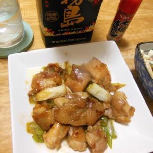 鶏モモと長ネギの甘辛炒めで晩酌