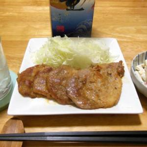 豚のニンニク味噌焼きで晩酌