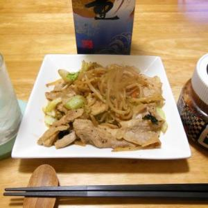 肉野菜炒めで晩酌