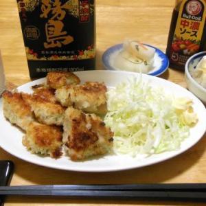 鶏肉のパン粉焼きで晩酌