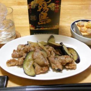 茄子と豚コマの味噌炒めで晩酌
