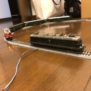 彼岸花と鉄道模型