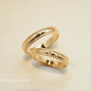 【K18】甲丸ミル打ちの結婚指輪
