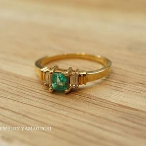 【K18】エメラルドの指輪をペンダントトップ(プチ)にリフォーム