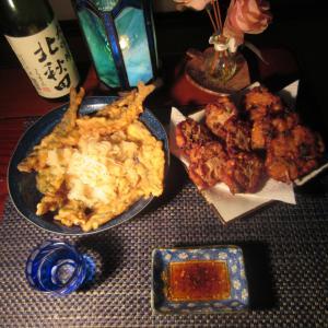 ★塩原の鮎の天おろしそうめんと新潟の真鱈・ホッケの薩摩揚げを自家製夏みかんぽん酢で冷酒一杯🎵
