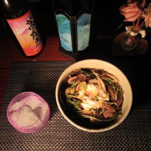 ★剱崎 一義丸釣果の鰹のタタキ山掛け丼で芋焼酎『茜霧島』一杯🎵