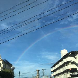虹を見ながらの帰宅