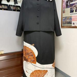 【新作留袖ドレス】2ピース 35号 B147 赤茶 扇 最大サイズ更新