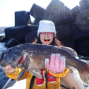 4月上旬に嫁が釣ったクロソイがJGFAの記録に登録されました
