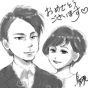 【似顔絵】進次郎さん&クリステルさん