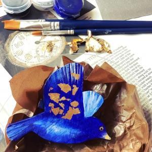 青い鳥のブローチのワークショップ