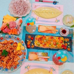 七夕ごはん☆今年はそうめんゼリー・竜田揚げ・手巻き寿司・ナタデココゼリー♡
