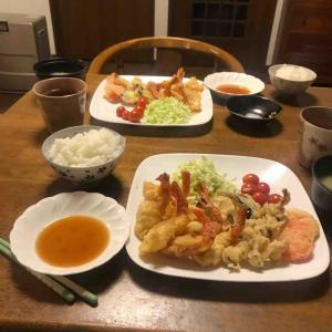 夕食は天ぷら