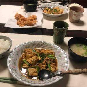 夕食は麻婆豆腐