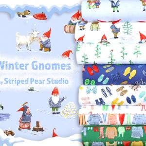 """ユニークなノーム生地 Windham Fabrics """"Winter Gnomes"""""""