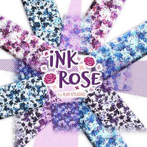 水彩のローズ柄がきれいな RJR Fabrics Ink Rose Collection