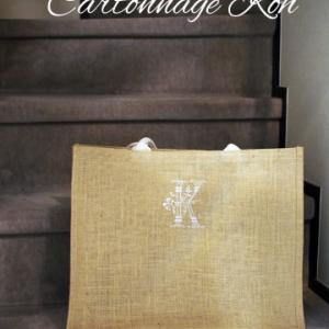 無印のジュートバッグにミシン刺繍