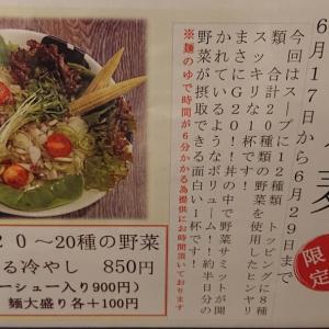 【きんせい南森町店】G20間近!20種の野菜が摂れる冷やしラーメン!