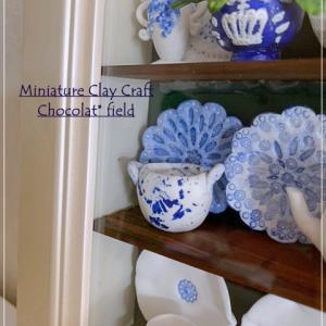 ブルーが美しい食器がすべて粘土で作れます【生徒さまの作品】