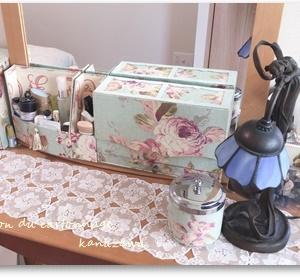 鏡台、洗面所、お部屋の中のカルトナージュ 生徒さんのお宅にて