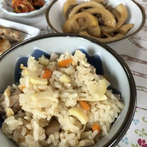 ハチクご飯と牛肉とハチクの炒め煮
