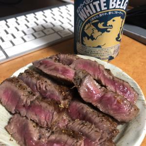 和牛ステーキで晩酌
