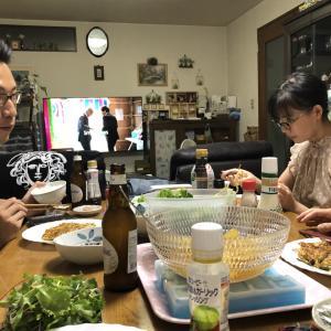 お盆の夕食(息子も帰省する)