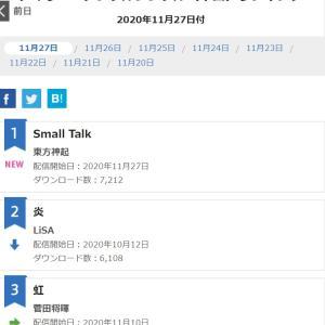 SmallTalk1位!11/27付 オリコン デイリーデジタルシングル(単曲)ランキング