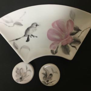 ポーセラーツ ワンファイヤーで描く水墨画風の花々 椿