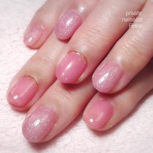 新色ピンクと さりげなチェーン♪ ・熊本光の森 プライベートネイルサロン フェリーチェ・