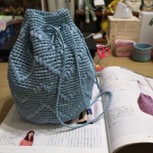 エコアンダリヤで大人の巾着バッグ編めました。
