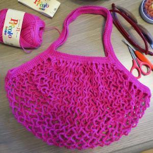 完成♪ハマナカピッコロで作るネット編みのエコバッグ