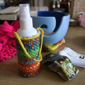 携帯スプレーボトルのカバーを編む