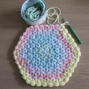 ダイソー¥200毛糸ミックスケークでリフ編み椅子カバー