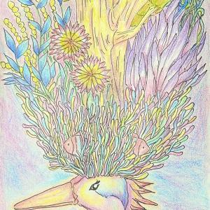 虹色イラストアート◆色鉛筆画◆イマジナリーバード◆