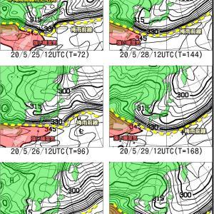 本州東岸は冷たい雨続くも西から回復 気温上昇(200523)