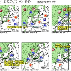 乾いた晴天ベースも局地的ににわか雨?(200528)