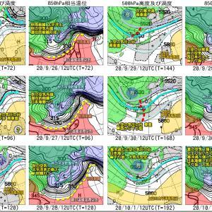 台風12号 カスめて通過も風・波のこり、別の低気圧で大雨に?(200924)