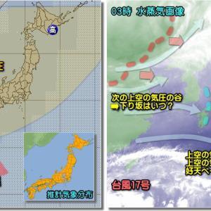 移動性高気圧の晴天続くも夜には西から下り坂(201021)